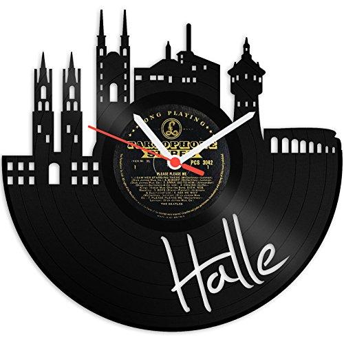 GRAVURZEILE Skyline Halle an der Saale Wanduhr aus Vinyl Schallplattenuhr Upcycling Design-Uhr Wand-Deko Vintage-Uhr Wand-Dekoration Retro-Uhr Made in Germany