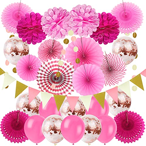 ZERODECO Party Hanging Paper Fans Set, Pink Confetti Balloons Decorative Folding Fans Paper Pompoms Triangle Bunting Flags Garlands for Wedding Birthday Baby Shower Photo Backdrop Party Decorations