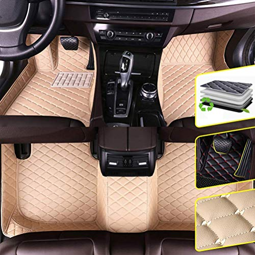 DBL Custom Car Floor Mats for Toyota 10-15 Land Cruiser 8-Seat(Fire Extinguisher) Waterproof Non-Slip Leather Carpets Automotive Interior Accessories 1 Set Beige