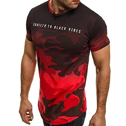 VEMOW Sommer Mode Persönlichkeit Camouflage Männer Täglich Cool Casual Schlank Kurzarm-Shirt Top Bluse Pullover(Rot, 56 DE/XL CN)