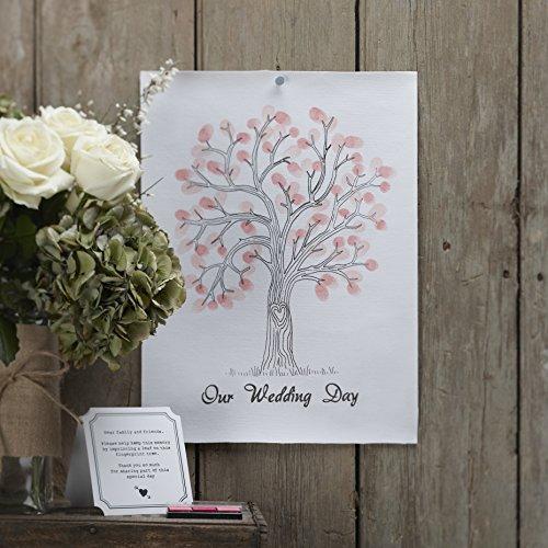 Ginger Ray Lienzo con diseño de árbol de huellas dactilares, color blanco