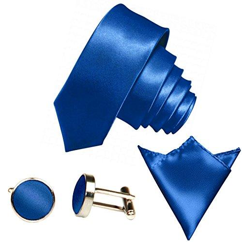 GASSANI 3-SET Krawattenset, 6Cm Schmale Royal-Blaue Herren-Krawatte Dünn Manschettenknöpfe Ein-Stecktuch, Bräutigam Hochzeitskrawatte Glänzend