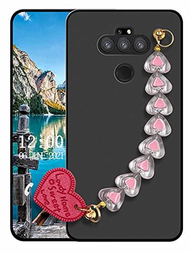 Sunrive Funda Compatible con LG Aristo 5 Plus, Colgante movil con Cuerda Rhinestone Crystal Silicona Mate Slim Fit Gel Carcasa Case Bumper Espalda Cover Pulsera(L corazón)