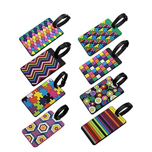 8 piezas Etiquetas de equipaje Pop Patrón geométrico Etiquetas de maleta de viaje de colores surtidos Titular de la tarjeta de identificación comercial