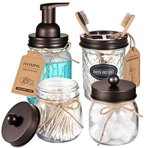 Mason Jar Bathroom Accessories Set 4 Pack - Foaming Soap Dispenser&2 Qtip Holders&Toothbrush Holder-Rustic Farmhouse Decor Bathroom Organizer Apothecary Jar Country Countertop (Bronze)