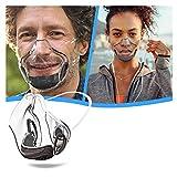 Colorful Transparent Kunststoff Mundschutz Damen Herren wiederverwendbar Mund und Nasenschutz Klar Face_Shield (Schwarz)