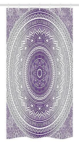 ASDAH Grijs en Paars Stall Douchegordijn Oosterse Traditionele van Cosmos Patroon Boho Ombre Mandala Design Print Stof Badkamer Decor Set met Haken 66 * 72in