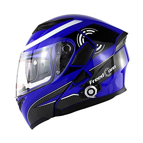 WMING Casque Bluetooth Moto/Double Objectif Anti-Brouillard Visage Ouvert Casque/Built-in Bluetooth Walkie-Talkie/Hommes Et Femmes Four Seasons Safe Flip Casque/Désodorisant/Sweat/Lavable,Blue,XL
