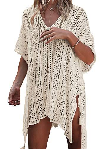 Pareos para Mujer, Vestido de la Playa Camisola de Traje de Baño Sexy Bikini Cover up Suelto Vestido de Playa Verano Túnica de Punto (A_Beige)