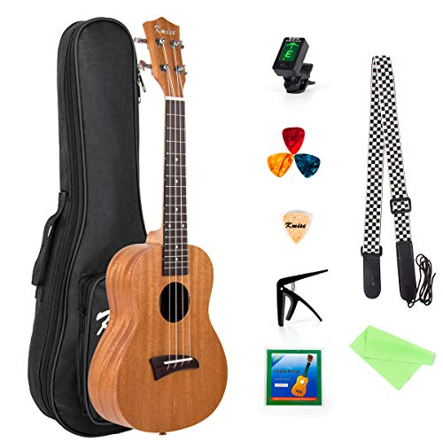 Kmise Ukulele Concert Ukelele 23 Inch Uke Hawaiian Hawaii Guitar Mahogany with Bag