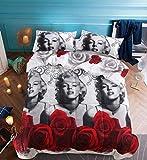 Tinghan Set copripiumino 3D Marilyn Monroe stampato floreale biancheria da letto 4 pezzi Queen Size