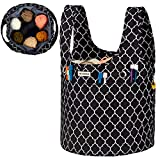 NICOGENA Knitting Bag with Drawcord Closure, Large Capacity Yarn Storage Wristlet Tote for Ongoing Project and Accessories, 2 Oversized Grommets,Lantern Black