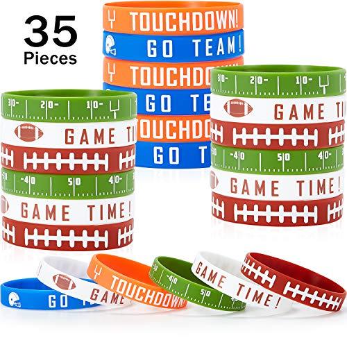 BBTO 35 Stücke Fußball Silikon Armband Motivierend Gummi Armbänder Rugby Silikon Armband für Sport Themen Fußball Themen Geburtstag Party Vergeben Geschenk