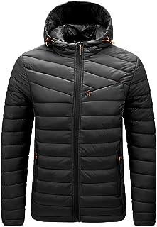 Gutsbox Męska kurtka puchowa, przejściowa z kapturem, outdoorowa, pikowana kurtka zimowa ze stójką, ciepły płaszcz zimowy,...