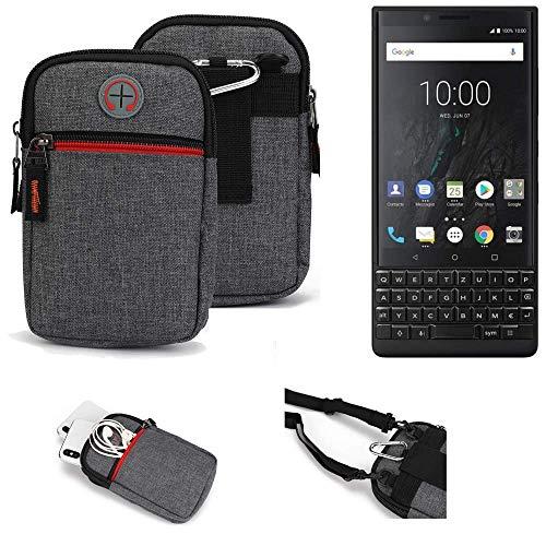 K-S-Trade® Gürtel-Tasche Für BlackBerry KEY2 (Dual-SIM) Handy-Tasche Holster Schutz-hülle Grau Zusatzfächer 1x