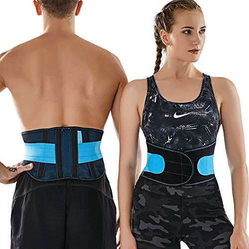 T TIMTAKBO Compression Recovery Back Brace,Lower Back Support for Back Pain Relief, 2XL Plus Size Waist Trimmer Belt for Workout,Gym,and Lifting,Men Waist Trainer Belt(Black/Blue, 2XL)