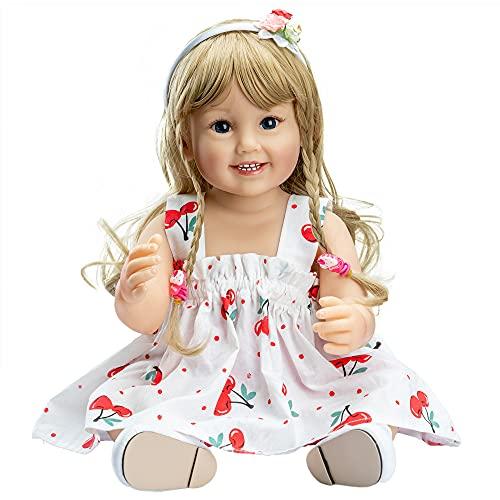 YIHANGG 55CM Reborn Baby Toddler Doll Long Blonde Hair Niña Muy Suave De Cuerpo Completo Reborn Muñeca De Silicona Juguete De Baño para Niños Cumpleaños