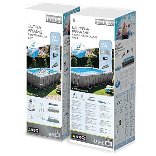 Intex Kit Piscine Ultra Frame 7,32 X 3,66 M X 1,32 m - Tubulaire Métal Ronde - Filtre À Sable 7,9 m3 Inclus