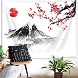 Japanese Decor Tapestry, Asian Anime Mount Fuji Red Sun Tapestry Wall Hanging for Bedroom, Japanese Art Cherry Blossom Decorations Tapestry Beach Blanket College Dorm (71'W X 60'H)