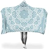 88NIUHULU Giant Hooded Blanket Powder Blue Mandala Design Printing Lightweight Winter Wear Throws - Wearable Blanket Suitable for Adults Use White 50x60 inch