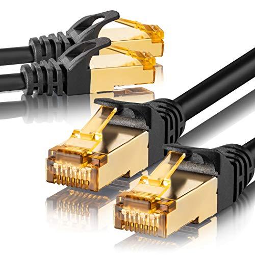 SEBSON 2X LAN Kabel 1m CAT 7 rund, Netzwerkabel 10 Gbit/s, RJ45 Stecker für Router, PC, TV, NAS, Spielekonsolen - Ethernetkabel S-FTP abgeschirmt