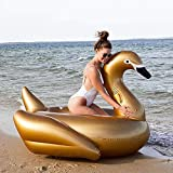 Svvsgf inflables de Piscina para Adultos, Montaje de Cisne Negro Inflable, Fila Flotante de Cisne Dorado, Montaje de Agua de Cisne Blanco