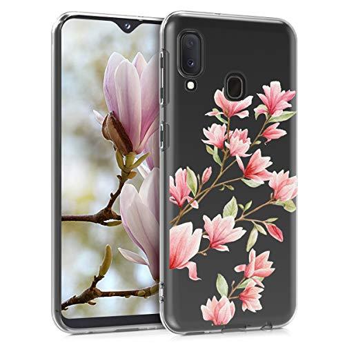 kwmobile Hülle kompatibel mit Samsung Galaxy A20e - Hülle Handy - Handyhülle - Magnolien Rosa Weiß Transparent