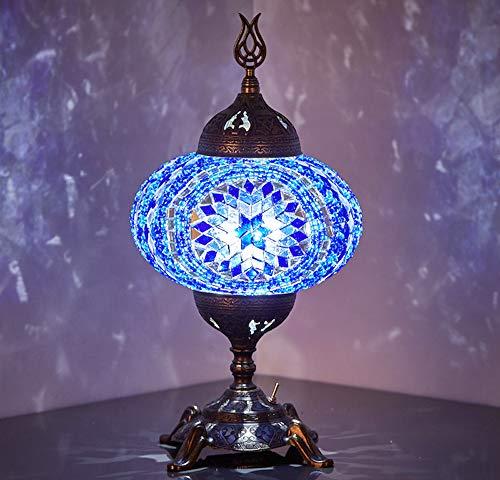 Lámpara de mesa con mosaico, funciona con pilas, con bombilla LED integrada, turco marroquí, hecho a mano, mesa de mosaico, mesita de noche, lámpara de noche con foco LED, sin cable (espacio azul)