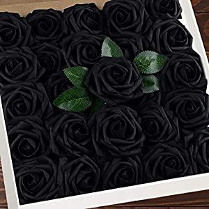 Artificial Flowers Black Roses W/Stem, Rustic Farmhouse Decor for Home Wedding Kitchen and Office Ideal Bridal Shower Party Home Decorations 25pcs