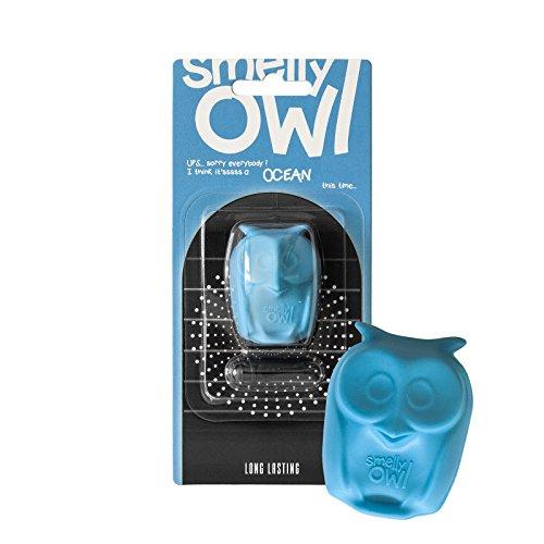 Smelly Owl Désodorisant pour voiture - Motif hibou - À monter sur n'importe quelle grille d'aération - +/- 45 jours de fraîcheur dans la voiture - Fabriqué dans l'UE (bleu/océan)