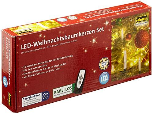 Idena 8582090 Led-kerstboomkaarsen om vast te klemmen, warmwit, ca. 9 cm, met dimmer en 6 uur timerfunctie, werkt op batterijen, met afstandsbediening.