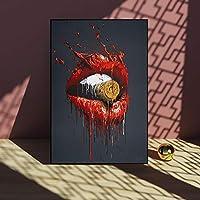 キャンバスに印刷する赤い唇口弾丸キャンバス絵画壁アート写真リビングルームの装飾アートポスターとプリント-40x60cmフレームなし