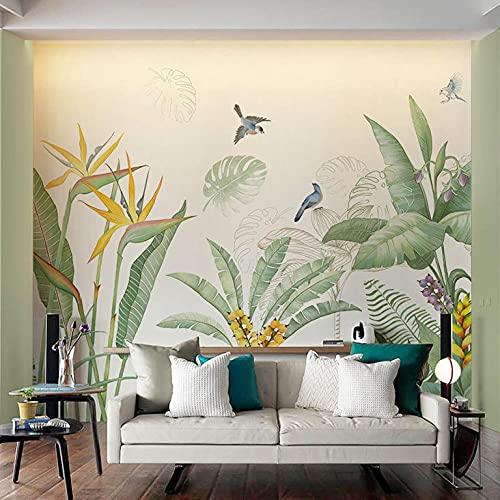 Se gröna växter Väggmålning Vardagsrum TV Bakgrund Vägg Kaffe Internet Cafe Kommersiellt utrymme Bakgrund-140cmx100cm