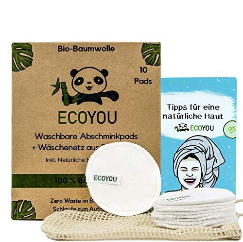 EcoYou® Waschbare Abschminkpads aus BIO-Baumwolle Wiederverwendbare Wattepads 10 STÜCK Nachhaltige Gesichtspflege für Frauen Inkl. DIY REZEPTE und Baumwoll-Wäschenetz