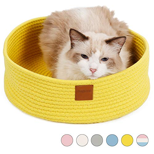 Round Cat Bed Basket Nest Indoor Cat Bed Sleeping Bed Cotton Rope Woven Warm House Cat Scratcher Scratching Scratch Mat Pad Eco Washable Winter Summer for Puppy Small Dogs,Yellow