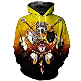 Native Indian Wolf Sudaderas con Capucha con Estampado 3D / Sudaderas Hombres Mujeres con Capucha Invierno Otoño Manga Larga Streetwear Pullover Color as The Picture 2XL