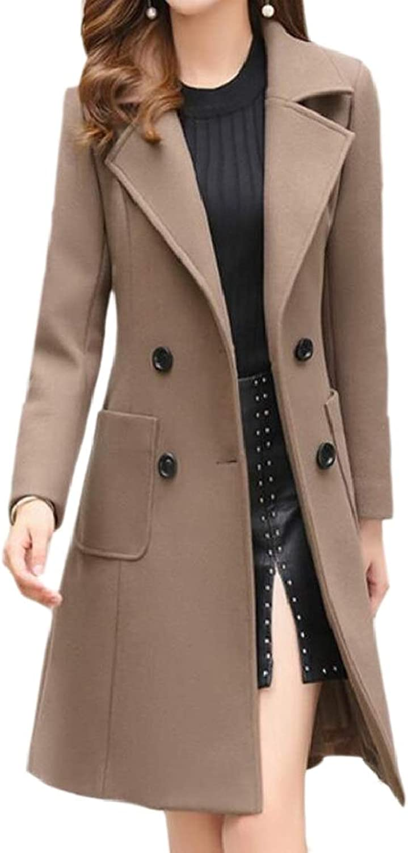 QDCACA Women Longline Lapel Double Breasted Overcoat Slim Wool Blend Pea Coat