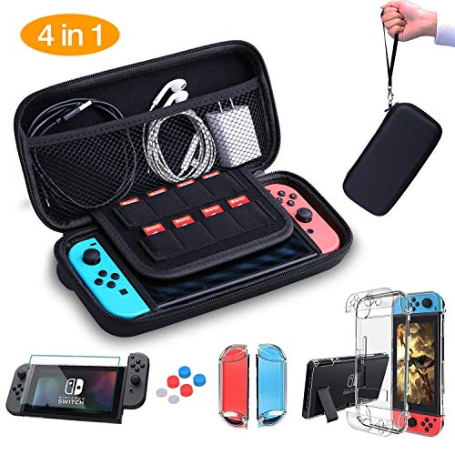 AISITIN Nintendo Switch Case - Nintendo Switch Carry Case Pouch + Switch Cover Case + HD Switch Screen Protector + Thumb Grips Caps for Nintendo Switch Console Accessories