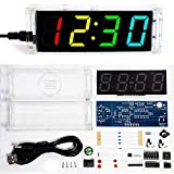 fyeTa DIY Electronic Clock kit 4 Digital Tube Multicolor LED time Week Temperature Date Display with Clear case Cover DIY sodering Project