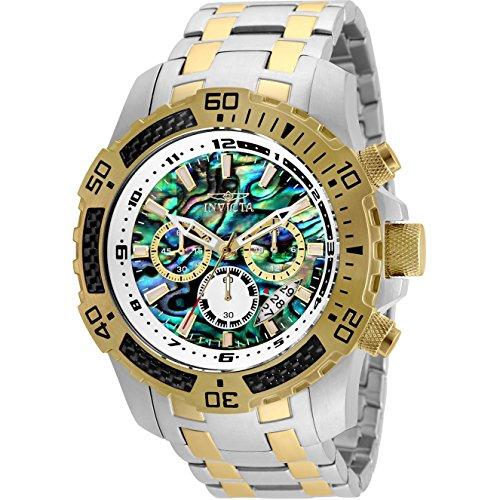 Invicta Men's 25093 Pro Diver Scuba Quartz Chronograph Carbon Fiber Bezel Abalone Dial Bracelet Watch