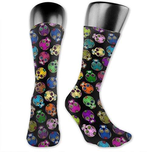 TTYIY Lustige Socken mit Totenköpfen für Männer & Frauen, 3D-Druck, mehrfarbig, gestrickt, kniehoch, Crew-Socken, leicht, verschleißfest, schweißabsorbierend