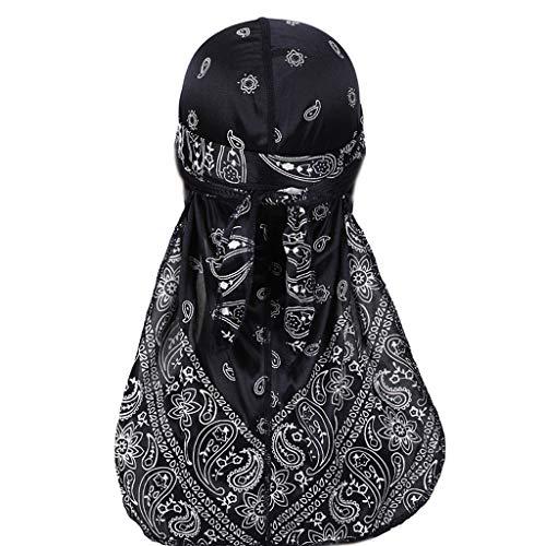 VIccoo Unisex imitatie zijde Extra lange tail headwrap eenkleurig verdikt meubilair patroon turban hoed hip hop piraten muts haarovertrek - navy blauw