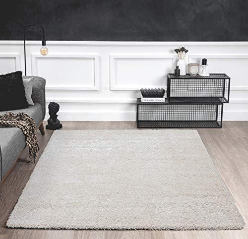 Mia´s Teppiche Shaggy Wohnzimmer Teppich, Hochflor 35 mm, 100% Polypropylen, Creme, 120x160 cm