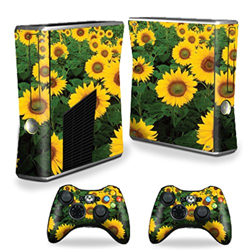 MightySkins Skin Compatible with Microsoft Xbox 360 S Slim + 2 Controller Skins wrap Sticker Skins Sunflowers