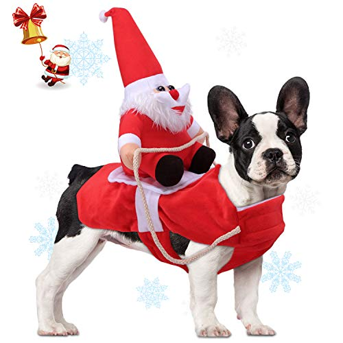 AVOD Running Santa Dog Costume Christmas Pet Clothes, Dog Apparel Party Dressing up Clothing for Small Large Dogs Pet Funny Festival Holiday Outfit (XL)
