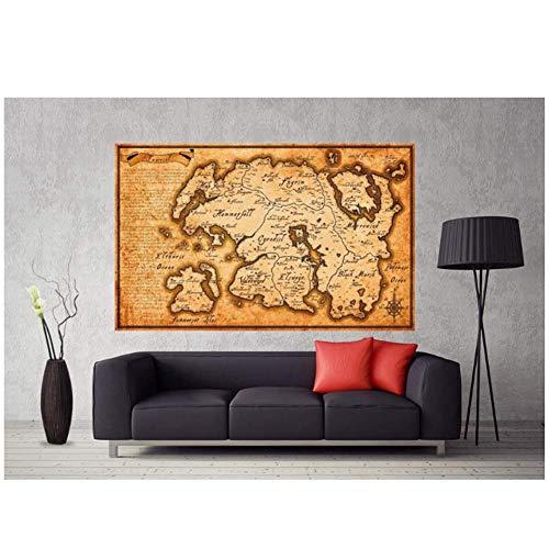 asfrata265 Karte Von Tamriel Von Elder Scrolls Skyrim Poster Art Leinwanddruck Wandkunst Home Decor No Frame 50X70Cm C605
