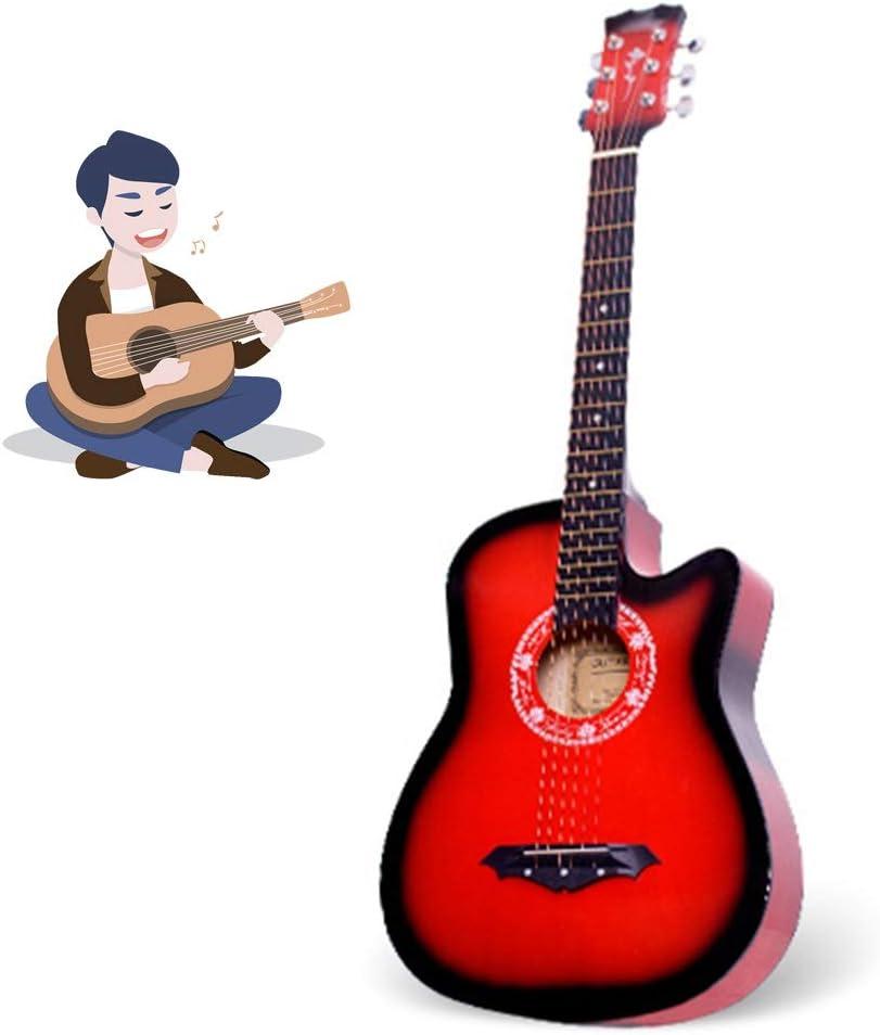 YJFENG Portátil Guitarra Acústica,Panel De Tochigi Cuerda De Alambre Voz Baja Buen Efecto De Resonancia Acompañamiento con Sintonizador Electrónico 38 '' Cutaway Guitarra,7 Colores