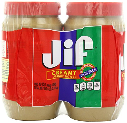 2 Pack Combo JIF Creamy Peanut Butter 48 Oz Each Jar COS11