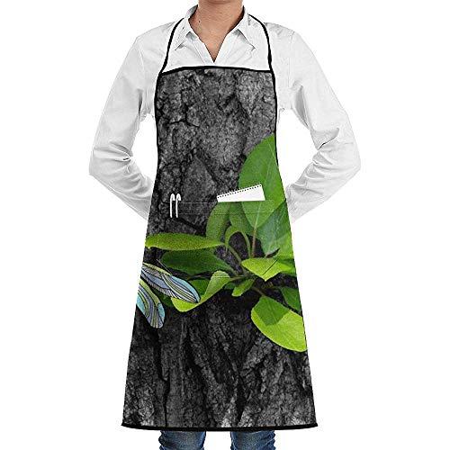 alice-shop The Trunk Green Plant Delantales Babero Restaurante Comercial y Delantal de Cocina para el hogar