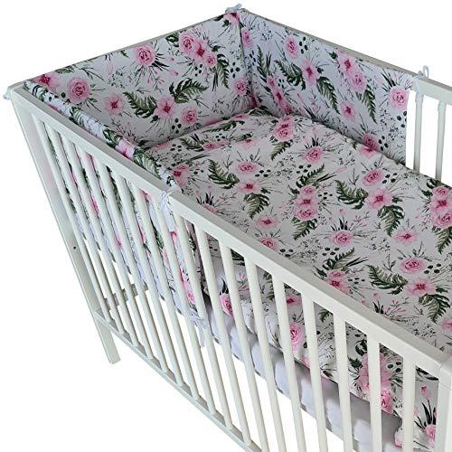 Juego de ropa de cama Bello de 6 piezas, ropa de cama para bebé, ropa de cama para cuna, parachoques y fundas de almohada para bebé (flores, 60 x 120)